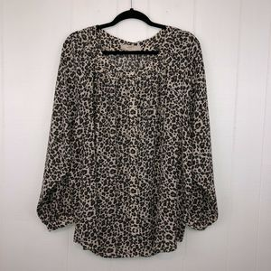 Loft Plus Leopard Print Blouse Top 22